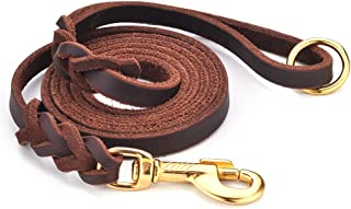 DAIHAQIKO Premium Genuine Leather Dog Leash 6 Foot Military Grade Heavy Duty K-9 Dog Leashes for Large Medium Small Dogs