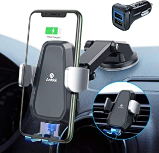 andobil Car Phone Holder Wireless Charger【Exclusively QC 3.0 Charger】 Auto Clamping Qi Fast Charger Car Mount Air Vent & Dash for iPhone 11 Series/SE/X/Xr/8, Samsung Galaxy S20/S10/S9, Note 20/10/9