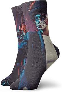 Lady Wearing Tux Interior Sugar Skull Crew Socks - Men's Medium Cushioned Performance Socks