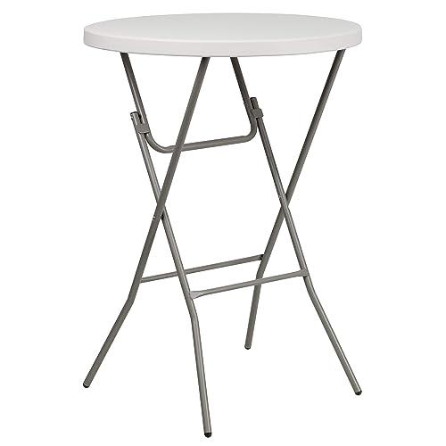 Flash Furniture 3-Foot Round Granite White Plastic Bar Height Folding Table