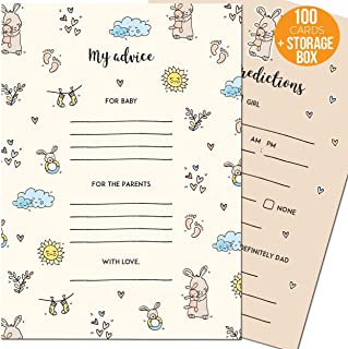 Baby Shower Prediction And Advice Cards – Perfect Baby Shower Games For Boys And Girls - 50 Large Baby Prediction Cards And 50 Small Baby Shower Advice Cards For Parents In A Cute Keepsake Box
