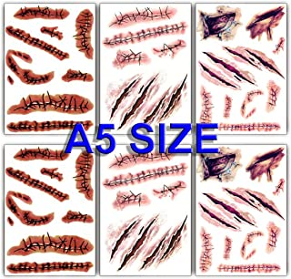 Large Size Halloween Temporary Tattoos Fake Wound Bloody Stitch Scars Scab Waterproof Temp Tattoo Stickers Body Art Decora...