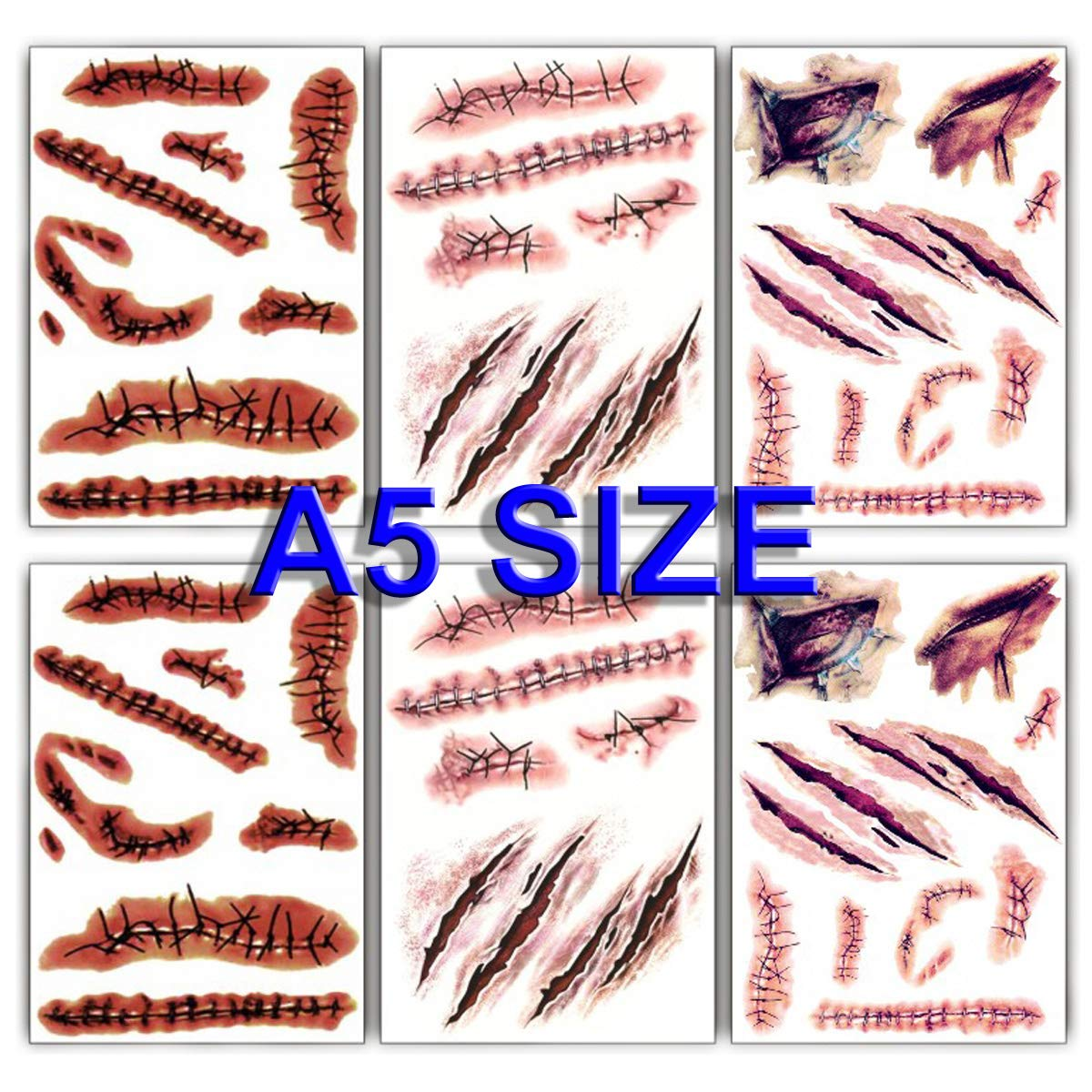 Large Size 2021 spring and summer new Halloween Temporary Tattoos Stitch Bloody Fake Wound Arlington Mall