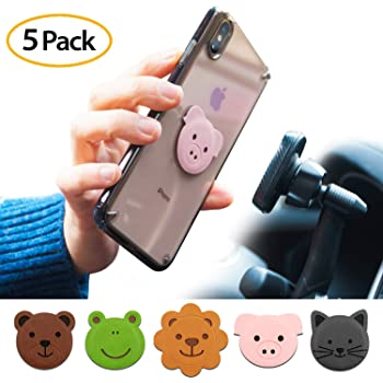 Zzooi Set of 3 Reindeer Lucky Cat Floral Designs Universal Round Metal Plate for Magnetic Phone Car Mount Holder Cradle with Adhesive