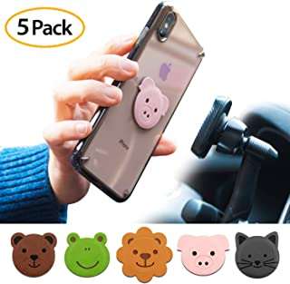 Ringke Magnetic Character Metal Plate Kit - Animal Edition (5 Pack, 1 Each) with 3M Adhesive Pad Compatible with Magnet Ph...