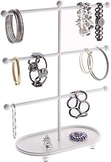 Angelynn's Large Bracelet Holder Organizer Tree Stand Display Hanging Jewelry Storage Hoop Earring Rack, Amy White