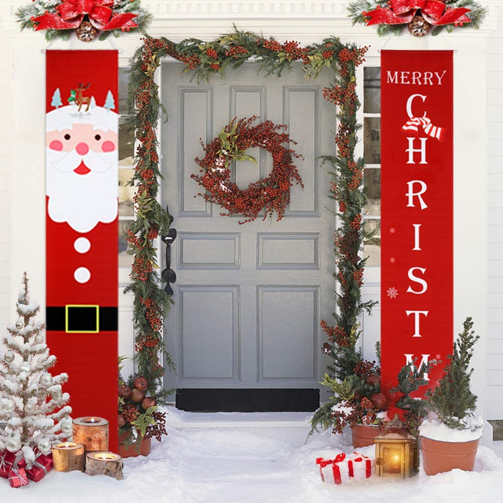 Christmas Decorations Outdoor Clearance Porch Sign,Christmas Banners with  Merry Christmas and Lovely Santa Claus for Indoor Front Porch decor ...