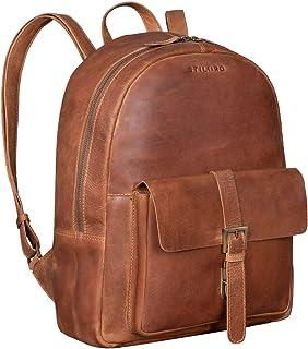 """STILORD Glenn"""" Lederrucksack Braun Vintage Daypack Großer Backpack Unirucksack Business Laptop Rucksack 13,3 Zoll Modern Echtes Leder, Farbe:taranto - braun"""
