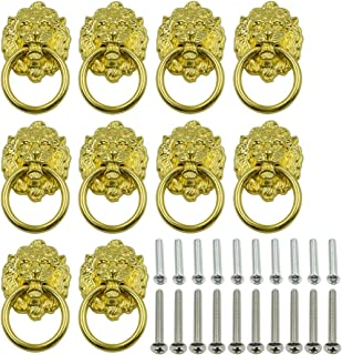 LICTOP 10 Pack 1.57 x 2.64 Inch Lion Head Knob Pull Handle for Dresser Drawer Cabinet Jewelry Box with Drawer Ring Antique Door Pulls Handle Knobs(Gold)