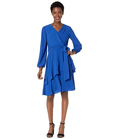 Tahari by ASL Long Sleeve Tiered Chiffon Dress with Self Tie Waist (Royal) Women