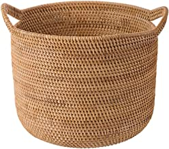 YAYADU Storage Basket Rattan Finishing Box High Capacity Hand Weave With Carry Handle Store Toy Vegetables Books Clothes T...