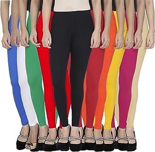 FABLAB Women's Cotton Lycra Ankle length Leggings Combo Pack Of -10 (BlueWhiteGreenRedBlackMaroonOrangeYellowPinkBeige,Fre...