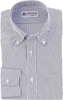 (フェアファクス) FAIRFAX 白地 ネイビー ストライプ ボタンダウン 綿100% 英国 トーマス・メイソン生地使用 (細身) ドレスシャツ b1812