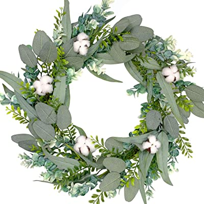 Bibelot 20 Inch Green Leaves Eucalyptus with Real Cotton Ball Wreath for Front Door,Farmhouse Decor,Indoor,Outdoor,Wedding,Home Decor