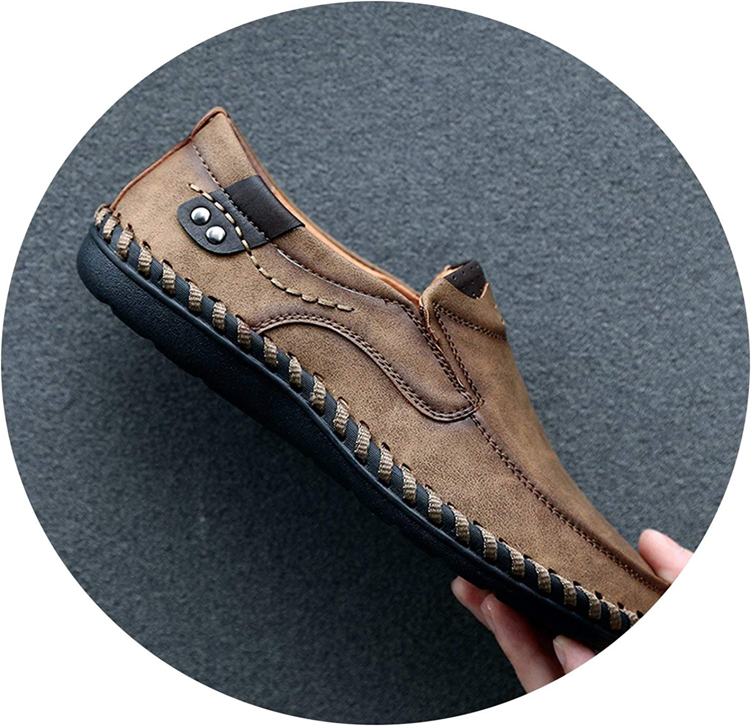 OH WHY Handmade Genuine Leather Mens shoes Casual Breathable Driving shoes Slip on Moccasins
