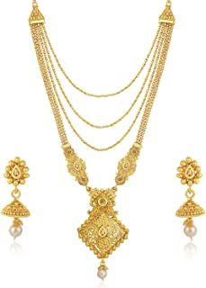 Sukkhi Sparkling LCT Gold Plated Wedding Jewellery Pearl Long Haram Necklace Set For Women (N83787)