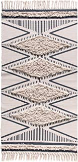 Wolala Home Moroccan Tufted Cotton Handmade Woven Rug with Non-Slip Mat Beige Tassels Printed Indoor Floor Carpet for Bedroom,Living Room,Children Playroom 2'3 x 5'3