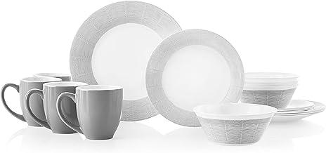 مجموعة أواني طعام مكونة من 16 قطعة من كوريل لأربعة أشخاص، مقاومة للشرق، زجاج، خطوط منسوجة، Vitrelle