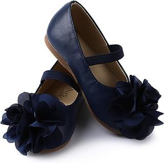 Girls Flower Mary Jane Ballerina Flat Shoes...