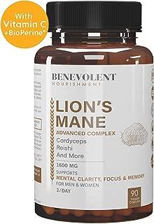 Premium Organic Lions Mane Mushroom Capsules - Lion's Mane, Cordyceps, Reishi Powder - Enhanced Absorption Nootropic Brain Supplement, Immune Booster, Stress Relief, Focus & Memory - 90 Veggie Caps