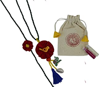 Prapti Handicraft embroidery flower Rakhi reuasble combo with gift potli bag And roli chawal