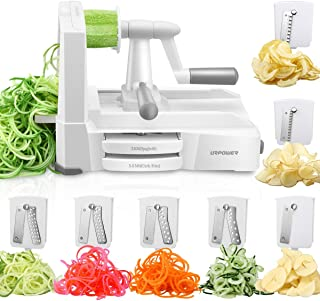 URPOWER Spiralizer Vegetable Slicer 7-Blade Vegetable Spiralizer, Strongest & Heaviest Duty Zoodle Maker, Food Processor, Veggie Pasta, Spaghetti Maker for Low Carb/Paleo/Gluten-Free with Blade Caddy