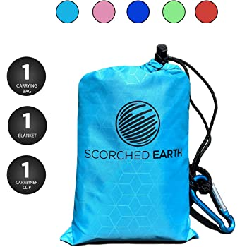 ScorchedEarth Pocket Blanket for Beach, Travel, Outdoor, Camping, Hiking, Picnic, Festival, Sports - Waterproof, Compact, Durable Tarp, Corner Pockets, Carry Bag (Aqua Blue, 60x55)