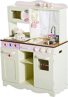 HOMCOM Cocina de Juguete de Madera Grande Juego de Imitación con Accesorios para Niños y Niñas 70x30x90cm Color Crema