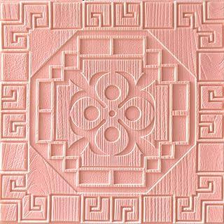 5件3d立体墙贴中国风墙纸防水防潮 隔音 适用卧室、客厅、餐厅、办公室、平整墙,60CM*60CM 粉色