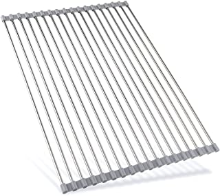 Ahyuan Roll up Dish Drying Rack over the Sink Dish Drying Rack 304 Stainless Steel Dish Rack Foldable Dish Drainers for Kitchen Sink Counter Warm Grey (17.8''x14'')