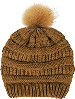 VISEMAN Womens Winter Beanie Hats with Pom Pom-Soft Chunky Cable Knit Hat Cap for Woman