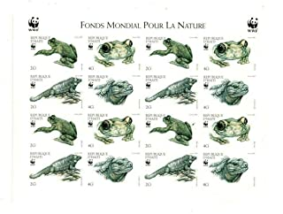 1999 WWF Frogs, Collectible Imperf Sheet of 16 Stamps, Mint Never Hinged