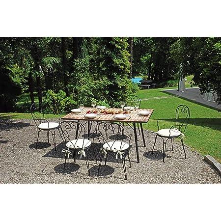 Tavolo Kingston Rettangolare 202x102 Cm Piano In Mosaico Struttura Ferro Marrone Amazon It Giardino E Giardinaggio