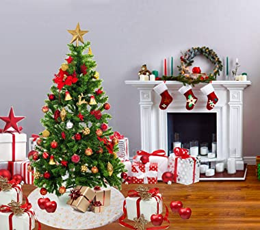 XP-Art 48 Inches White Faux Fur Christmas Tree Skirt Gold Snowflake Xmas Tree Skirt for Christmas Decorations Xmas Party Home