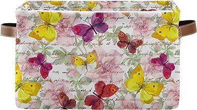 xigua Grand panier de rangement vintage avec motif papillon, panier de rangement pliable, boîte de rangement avec poignée ...