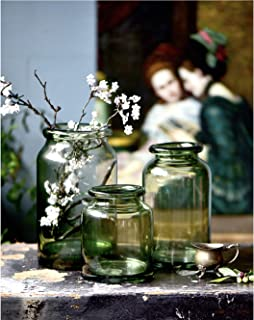 Noah Decoration European Hand-Blown and Handmade Light Green Glass Flower and Filler Vase and Containers for Home and Wedding Indoor and Outdoor Decoration Size Medium