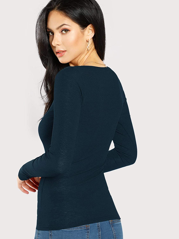 DIDK T-Shirt Femme Top Moulant /à Manches Longues Et Col U Tee Shirt avec Boutons Casual Haut Pull pour Printemps//Automne