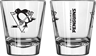 Official Fan Shop Authentic NHL Logo 2 oz Shot Glasses 2-Pack Bundle. Show Team Pride at home or your Bar. Game time glasses for a goodnight (Pittsburgh Penguins)