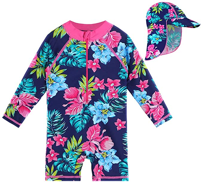 HUAANIUE Baby Girls Swimsuit Rashguard Swimwear One Piece