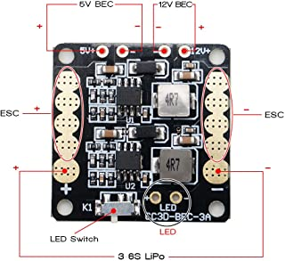 ARRIS CC3D Naze32 Flight Controller Mini Power Distribution Board PDB w/LED (Comes with BEC 5V-12V output) for 250 Multicopter