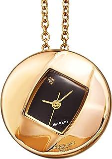 Akribos XXIV AK1053 Women's Diamond Pendant Watch – Long Chain Necklace with Elegant Stainless Steel Square Watch, Glossy Dial, Diamond Marker