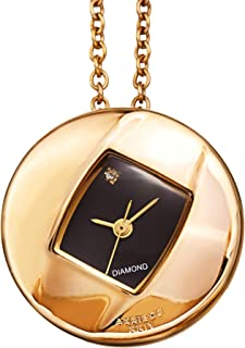 AK1053 Women's Diamond Pendant Watch – Long Chain Necklace with Elegant Stainless Steel Square Watch, Glossy Dial, Diamond Marker