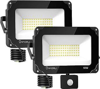 Onforu 2× 60W Foco Exterior LED con Sensor de Movimiento, 6000LM IP66 Impermeable Proyector