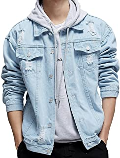 KAMA BRIDAL Men's Distressed Ripped Denim Jacket Button Down Jean Trucker Coat