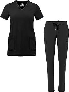 Adar Addition Go-Basic Scrub Set for Women - Slim V-Neck Scrub Top & Skinny Cargo Scrub Pants