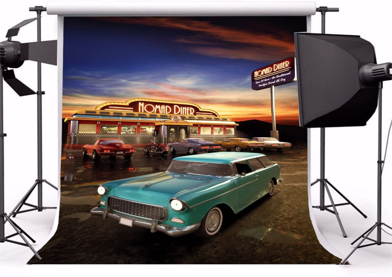 Yeele 10x10ft Retro Nostalgia Hackberry General Store Backdrop Vintage 80S 90S Route 66 Eatery Classic Car Background for Photography Party Banner Girl Boy Portrait Photo Booth Shooting Studio Props