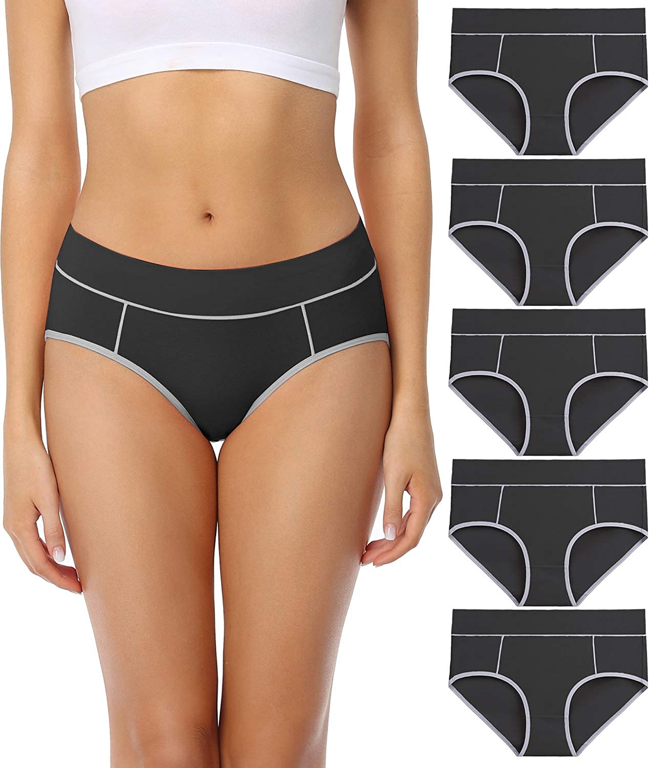 wirarpa Ladies Cotton Pants Underwear Mid Rise Knickers Stretch Briefs for Women Plus Size 5 Pack