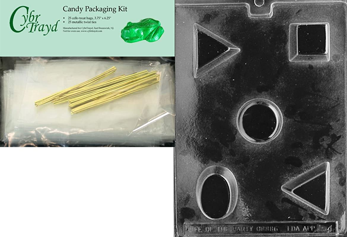 Cybrtrayd Mdk25G AO046 Petite Fours All Occasions Chocolate Candy Mold With Packaging Bundle Of 25 Cello Bags 25 Gold Twist Ties And Chocolate Molding Instructions