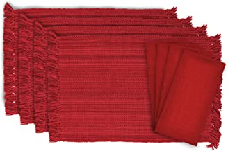 DII Tonal Fringe Linen Set, 4 Placemats & 4 Napkins, Tango Red - Perfect for Fall, Dinner Parties, BBQs, Christmas, Weddin...