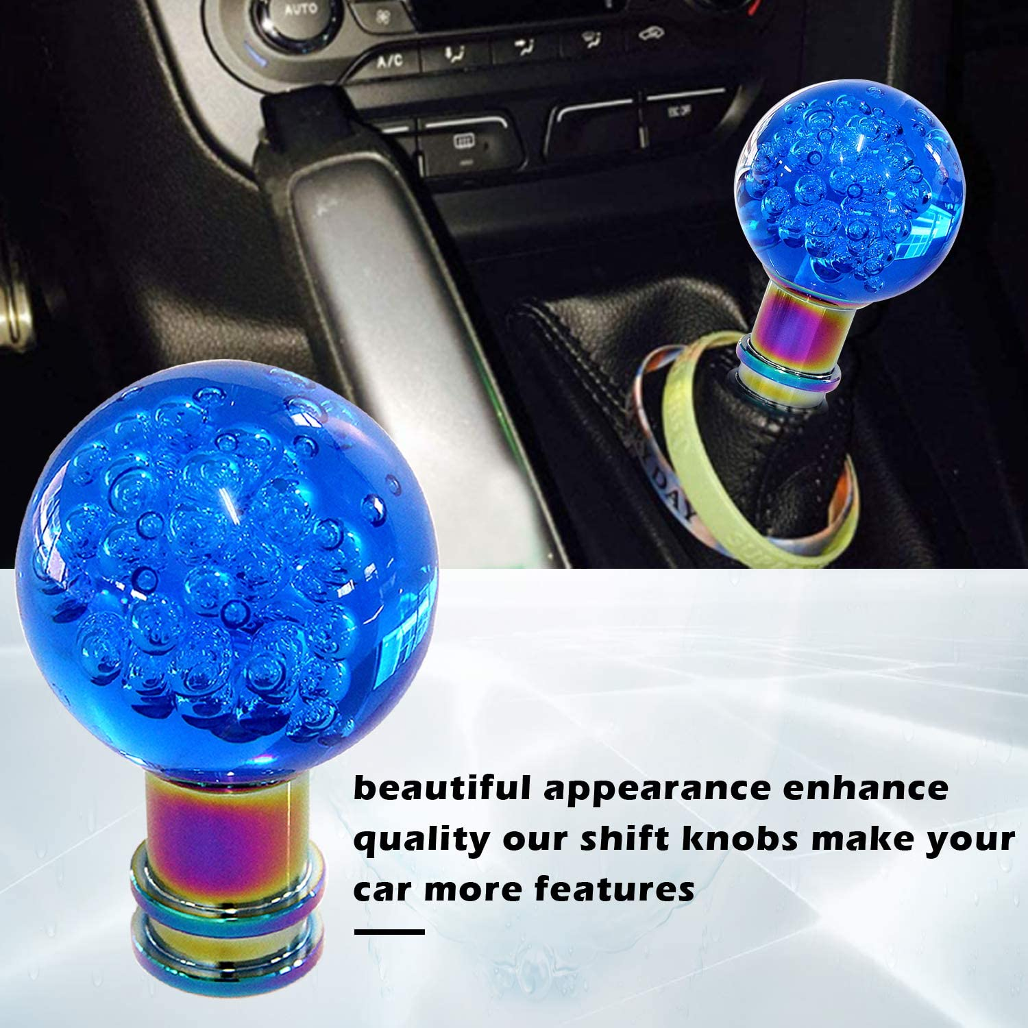Green Luminous Gear Shift Knob Lever Shifter Head White Round Cue Luminous Ball Fit for Most Automatic Manual Vehicles 5 6 Speed